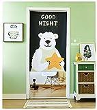 Cotton Linen Cartoon Lift -able Door/Window Curtain for Bathroom/Bedroom Wall Hangings (Bear, 33.5X70.9'')