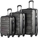 Merax MT Imagine TSA Luggage Set 3 Piece Spinner Suitcase (Deep Gray)