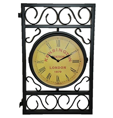 Outdoor Expressions Kensington Station London, 1879, Double Wall Clock For Patio or Garden by Outdoor Expressions