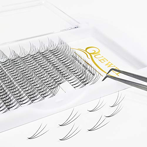 Russian Volume Premade Fans Eyelashes Extension 3D Thickness 0.07/0.10 Curl C/D Length 8-18mm by Quewel (3D-0.07-C, 10mm)