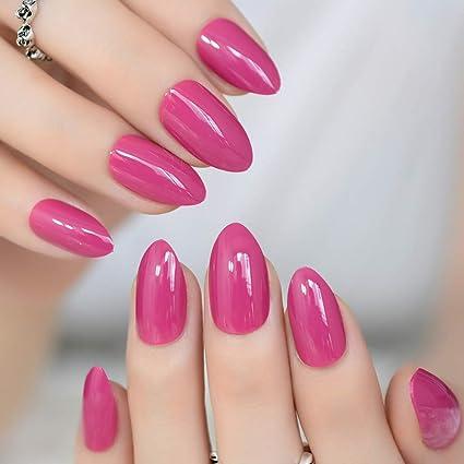 EchiQ uñas postizas de almendra ovaladas afiladas de tamaño mediano color violeta rojo falso uñas Stiletto
