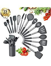 Kitchen Utensil Set, 15Pcs Silicone Kitchen Cooking Utensils Set, Heat Resistant Non-Stick BPA Free Silicone Cookware with Stainless Steel Handle, Spatula Spoon Turner Tongs Kitchen Tools Set