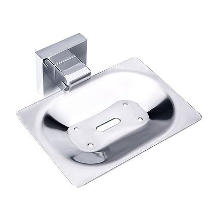 Charmingwater baño jabonera latón sólido resistente soporte para el jabón, montado en la pared de