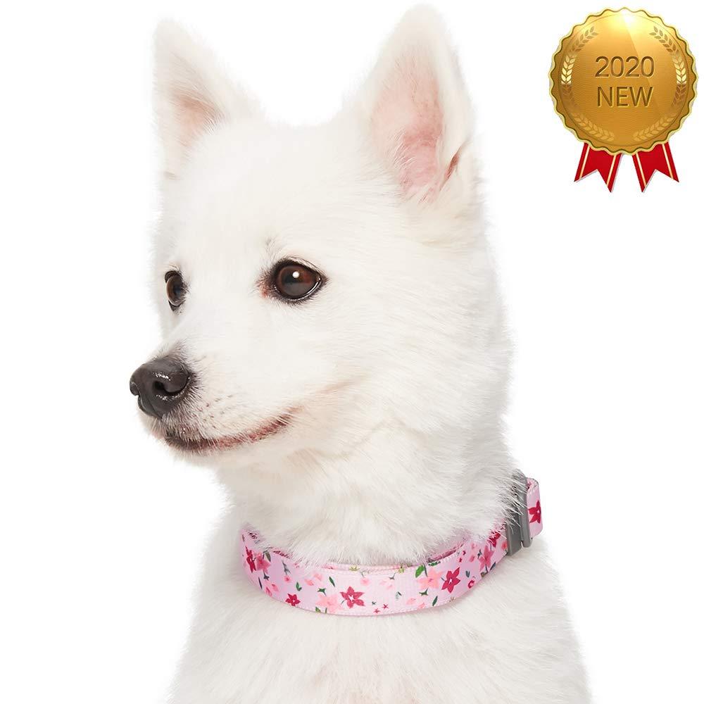 Collar para perros con estampado de flores S collares ajustables para perros Made Well by cuello 30-40 cm Umi marfil