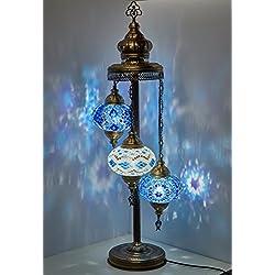 "Turkish Moroccan Mosaic Glass Handmade Tiffany Floor Lamp Light, 29.5"" (Multicolor)"