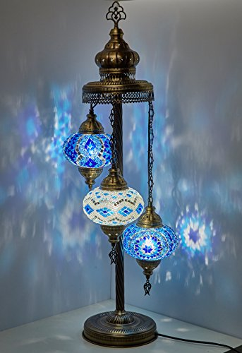 Turkish Moroccan Mosaic Glass Handmade Tiffany Floor Lamp Light, 29.5