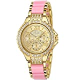 ANLEOWATCH 1PCS Women Diamante Dress Watches Stainless Steel Back Metal Strap Wristwatch 5590-Pink