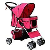 Kinbor 4 Wheel Pet Stroller - Cat Dog Walk Travel Foldable Folding Carrier Strolling Cart