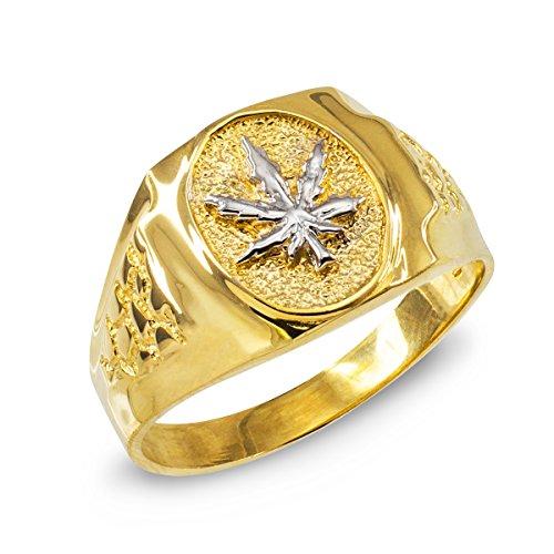 Men's High Polish 10k Yellow Gold 420 Pot Ganja Weed Cannabis Marijuana Leaf Ring (Size 5.75)