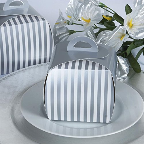 BalsaCircle 20 pcs 3.5-Inch Silver Wedding Stripes Cupcake Purse Favor Boxes for Wedding Party Birthday Candy Gifts - Tea Shower Bridal Favors Purse