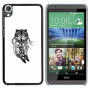 For HTC Desire 820 Case , Wolf Indian Dream Catcher White Native - Diseño Patrón Teléfono Caso Cubierta Case Bumper Duro Protección Case Cover Funda