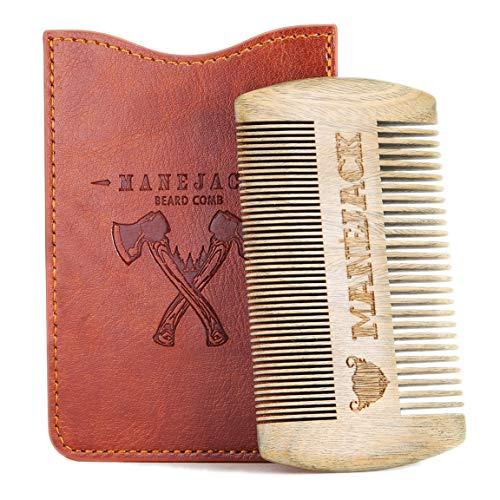 Sandalwood Beard Comb with PU Leather Case -Mustache Combs Kit for Men – Perfect for Head Hair, Beard – Handmade Premium SandalWood – Fine Dual Action Teeth