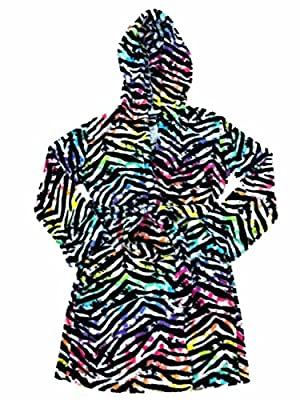 Joe Boxer Girls Multicolor Zebra Print Fleece Hoodie Bath Robe House Coat