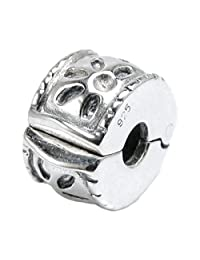 925 Sterling Silver Round Flower Blossom Bead Stopper Clip Lock For European Charm Bracelets