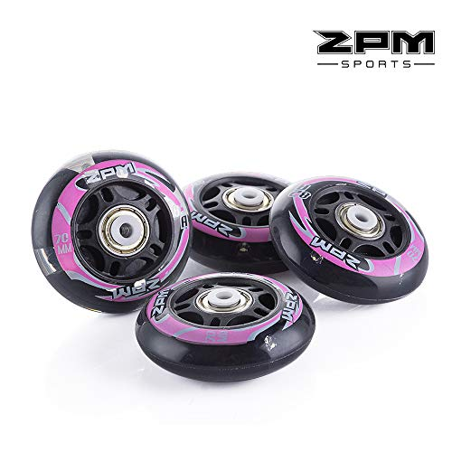2PM SPORTS Inline Skate Replacement Wheels with White Light,82A 76mm / 70mm Pu Wheels with ABEC-7 Bearings, Pack of 4 ()