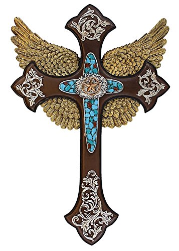 Star Cross with Scrolls and Angel Wings in Turquoise Accent