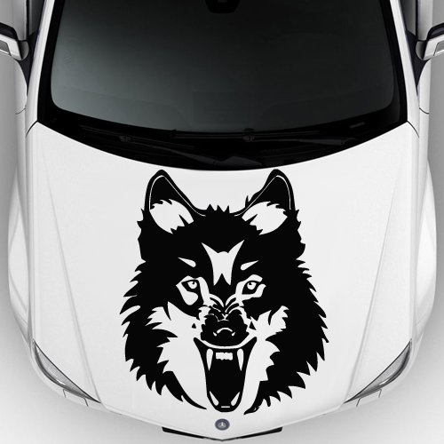Car Decal Hood Sticker Wall Art Graphics Paint Auto Truck Design Wolf Predator Animal Head Pattern (M1196)