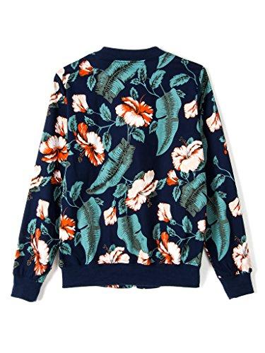 PERSUN Women's Dark Blue Tropical Floral Print Bomber Jacket