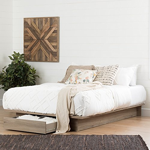 South Shore Primo Full/Queen Platform Bed (54/60'') with drawer, Rustic Oak