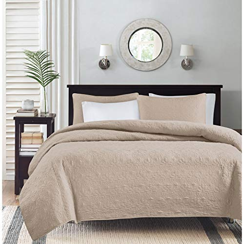Madison Park Quebec Dusty Pale Khaki 3-Piece Quilted King Coverlet Set-For King or Cal King Bed -Ideal For Warm Climate Room Décor or Add-on For Extra Warmth