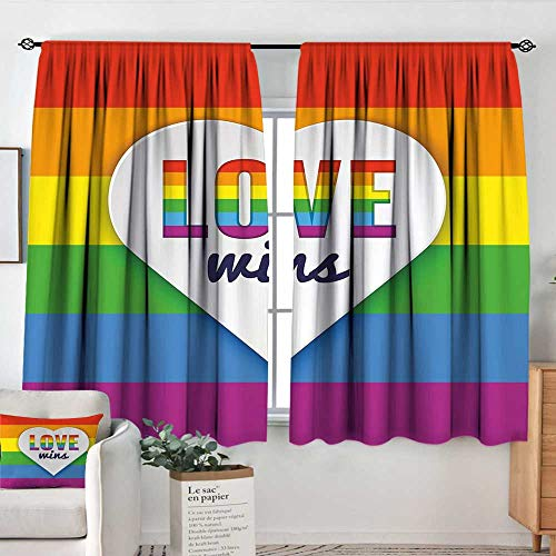 Elliot Dorothy Curtains for Bedroom Pride Decorations,Rainbow Flag with Stripes Heart Symbol with Love Wins Text LGBT Valentines,Multicolor,Darkening and Thermal Insulating Draperies ()