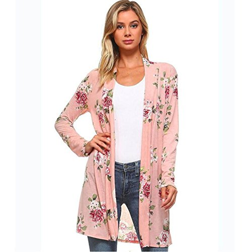 Women Shirt ,IEason 2017 Hot Sale! Lady Women's Fall Long Sleeve Floral Print Kimono Cardigan Blouse Shawl Tops (M, (Cashmere Kimono Sleeve Sweater)