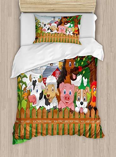 Ambesonne Cartoon Duvet Cover Set Twin Size, Composition Farm Animals on Fence Comic Mascots with Dog Cow Horse Kids Design, Decorative 2 Piece Bedding Set with 1 Pillow Sham, Green Brown