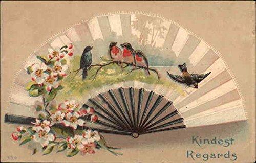 Kindest Regards Fans Original Vintage Postcard