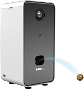 NPET Smart Pet Camera Dog Treat Dispenser, WiFi Pet Monitor Indoor with 2-Way Audio, 1080P Night Vision, APP Control Compatible with Alexa for Dogs & Cats