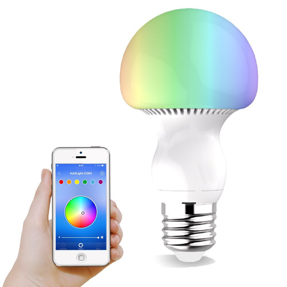 smartphone controlled lighting. LED Light Bulb, Thorfire Bluetooth Controlled 5W (40W Equivalent) Dimmable Lamp, Multicolored Wide Flood Light, 6500K Cool White Initial Color - Works With Smartphone Lighting