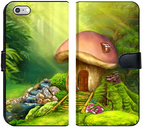 Liili iPhone 6 and iPhone 6S Flip Micro Fabric Wallet Case Fantasy Mushroom Cottage on a Colorful Meadow Illustration Image ID 37724232