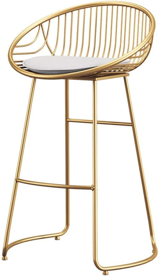 Color : Gold*1, Size : 70CM 4 Nordic Bar Stools Golden Modern Minimalist Wrought Iron High Stools Bar Dining Table Chairs Home Backrests One Pair