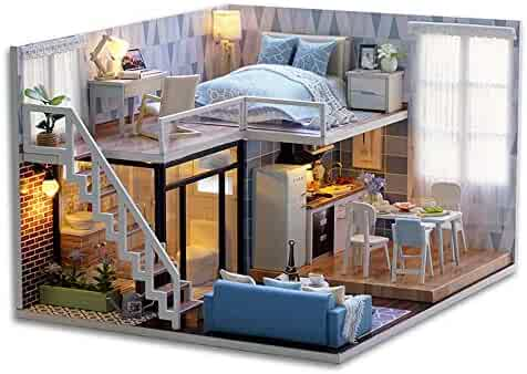 CuteBee Dollhouse Miniature with Furniture, DIY Wooden DollHouse Kit Plus Dust Proof and Music Movement, 1:24 Scale Creative Room for Valentine's Day Gift Idea(blue time)