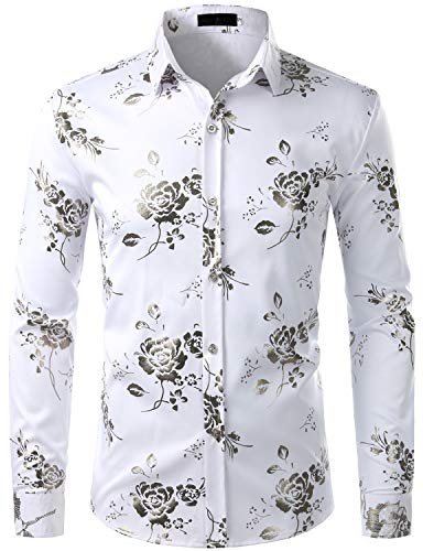 ZEROYAA Men's Hipster Golden Rose Printed Slim Fit Long Sleeve Floral Party Dress Shirts ZZCL28 White Small]()