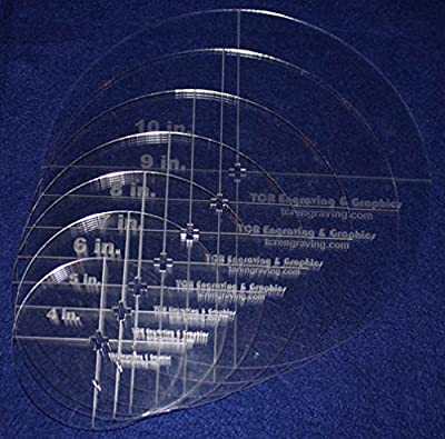 """Circle Template 7 Piece Set W/crosses and Guideline Hole. 4"""",5"""",6"""",7"""",8"""",9"""",10"""" - Clear 1/8"""" Thick"""