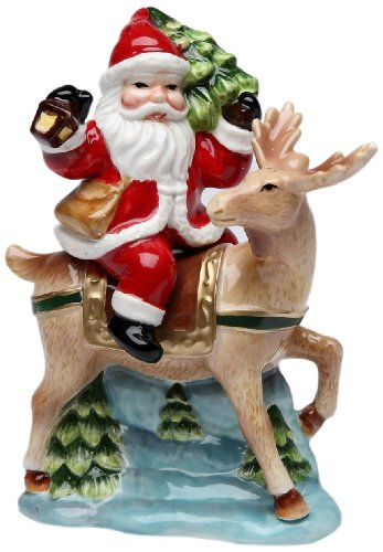 (Cosmos Gifts 10519 Santa with Reindeer Salt and Pepper Set, 5-1/2-Inch)