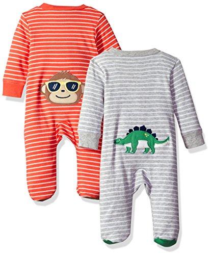 Carter's Baby Boys' 2-Pack Cotton Sleep and Play, Dino/Monkey, Newborn