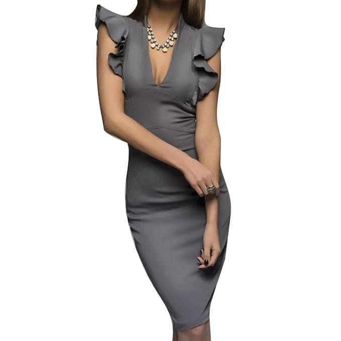 Mujer Vestidos Fiesta Midi Vestidos Elegante Verano Cuello en V Vestido Ajustados Sin Mangas Lápiz Vestidos