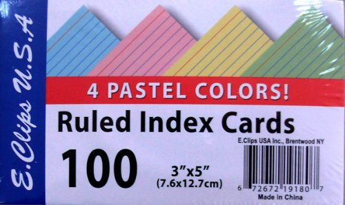 Index Cards - Pastel Colors - 3'' x5'' - 100 ct Case Pack 60 by DDI