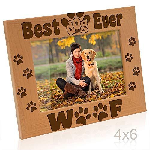 Kate Posh - Best Dog Ever - Dog Paws and Bones Engraved Picture Frame (4x6-Horizontal) (Photo Frame Dog)