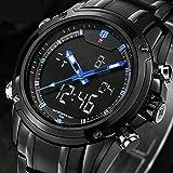 Readeel Men Military Sports Watches Men's Quartz Digital Dual-display Multi-function Stainless steel Mens Watches Deep Blue Dial