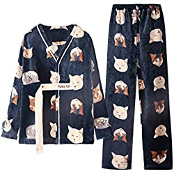 Pijamas Ropa de Dormir de Terciopelo de Coral de Color Oscuro, Invierno cálido, Franela de Manga Larga, Conjunto de Gatos Dulces y encantadores, Estampados en casa, de Dos Piezas. Camisones