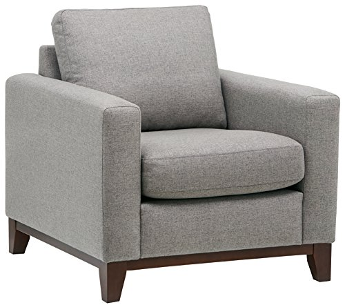 Rivet North End Exposed Wood Modern Accent Chair, Grey Weave