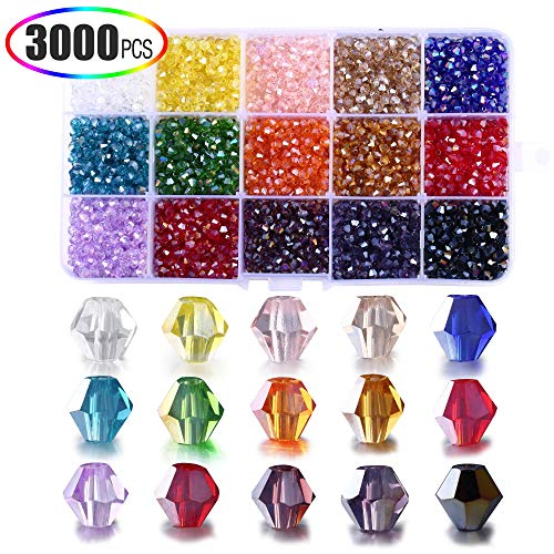 4mm Crystal Beads, XINFANGXIU 15 Colors Crystal Beads for Jewelry Making DIY Bicone Crystal Beads for DIY Beading Projects, Bracelets, Necklaces, Earrings & Other Jewelries