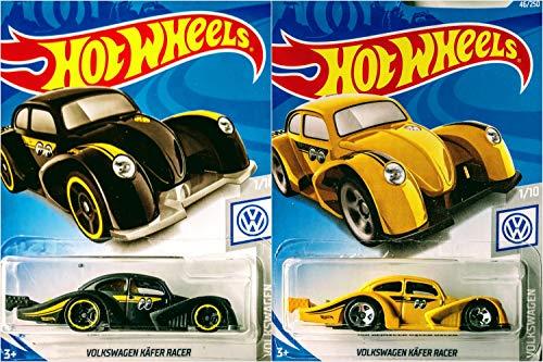 (Hot Wheels Volkswagen Kafer Racer 46/250 Black and Yellow 2 Car Bundle Set)