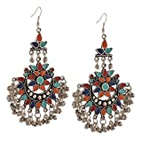 Bollywood Traditional Indian Jewelry Oxidized Silver Afghani Tribal Chandbali Earrings for Women