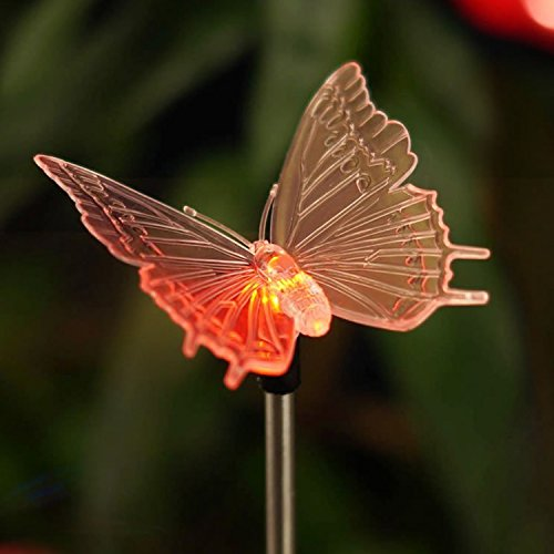 - Qidea Outdoor Solar Garden Stake Light - Color Changing Decorative LED Stake Lamp in-Ground Landscaping Lighting for Garden Patio Yard Lawn Pathway Flower Bed Decor Decorations Figurine Butterfly