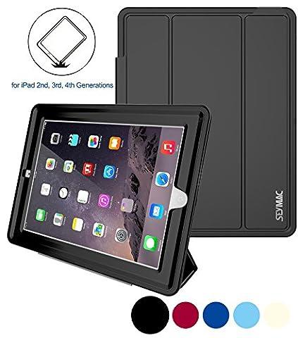iPad 4 Case,[Shock Poof] Apple iPad Case Full-body Rugged Hybrid Protective Smart Case for ipad 2/ 3/ 4 Generation, AUTO SLEEP/ WEAK Case Cover + PU Leather Stand (Original Ipad 4 Case)