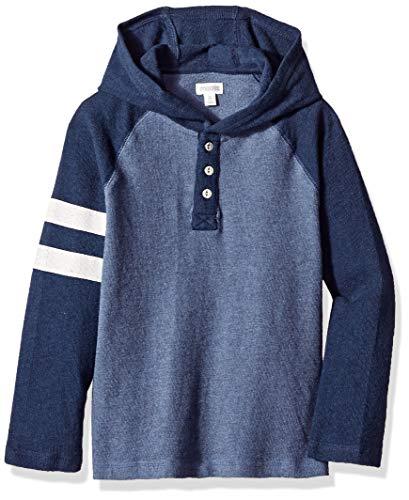 - Gymboree Boys Long Sleeve Henley Hooded Shirt, Tonal Blue Stripe M