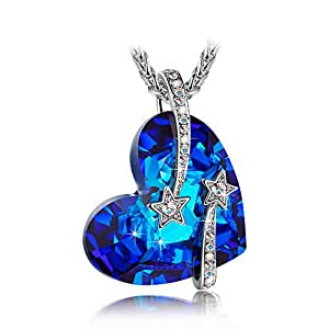 LadyColour Venus Blue Heart Pendant Necklace Swarovski Crystals Jewelry for Women Engaraved Necklace